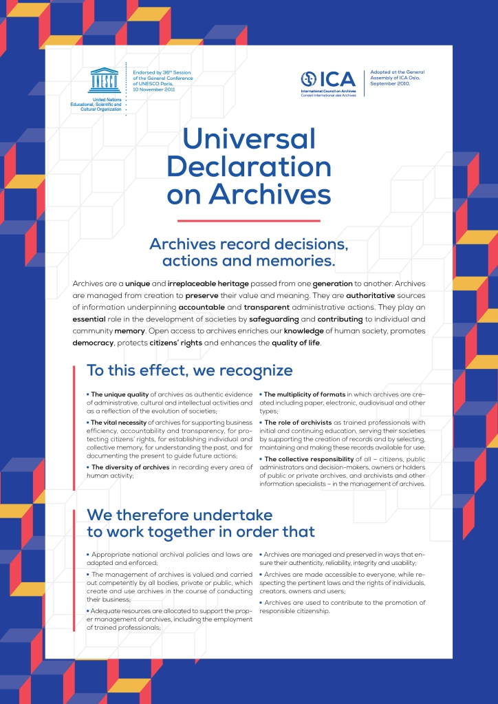 The Universal Declaration on Archives